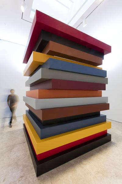 Sean Scully 	COLORED STACKED FRAMES  2017 	Stainless steel with automotive paint 	10 x 8 x 8 feet 	3 x 2.4 x 2.4 meters