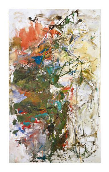 Joan Mitchell 	UNTITLED  1960 	Oil on canvas 	63 3/4 x 38 1/8 inches 	161.9 x 96.8 centimeters 	©Estate of Joan Mitchell
