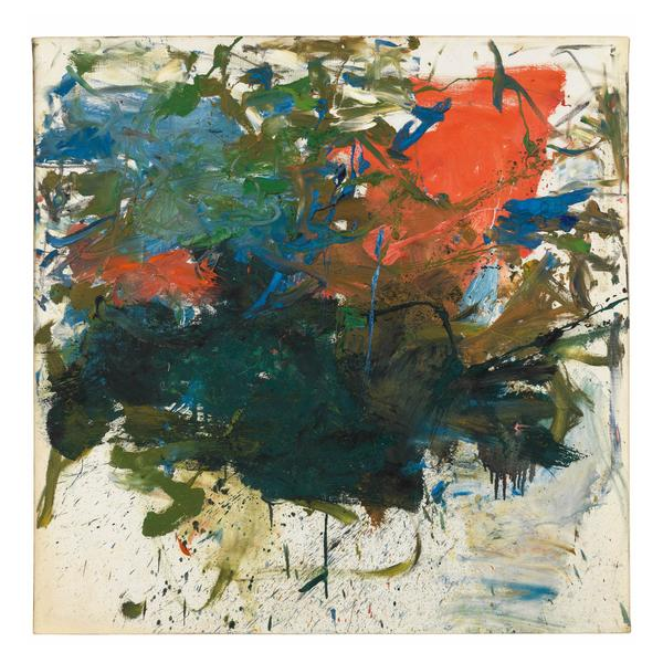 Joan Mitchell 	UNTITLED  1960 	Oil on canvas 	39 3/8 x 39 3/8 inches 	100 x 100 centimeters 	©Estate of Joan Mitchell