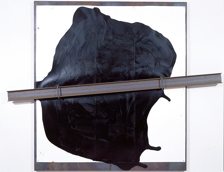Jannis Kounellis 	UNTITLED, 2005 	Iron plate with paper, tar and one I-beam 	78 3/4 x 98 1/2 x 4 3/4 inches 	200 x 250 x 12 centimeters