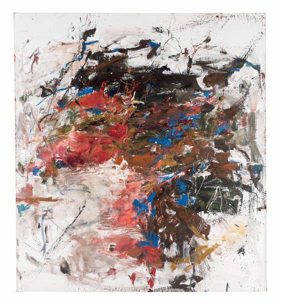 Joan Mitchell 	MANDRES  1961-62 	Oil on canvas 	87 3/8 x 79 inches 	222 x 200.7 centimeters 	©Estate of Joan Mitchell