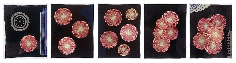 Louise Bourgeois CINQUE 2005 5 panel piece, fabric and stitching 18 x 14 inches, per panel 45.7 x 35.6 centimeters, per panel