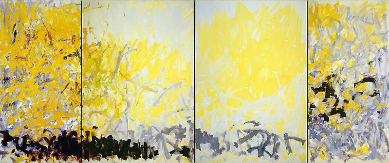 Joan Mitchell (1925 - 1992) 	MINNESOTA 1980 	Oil on canvas in four parts 	102 1/2 x 243 inches 	260.4 x 617.2 centimeters