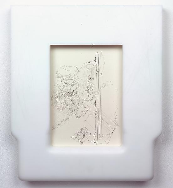 Matthew Barney 	UNTITLED (STUDY FOR DEAR GENERAL MACARTHUR), 2006 	Resin frame around pencil on paper 	13 1/2 x 11 1/2 inches 	34.3 x 29.2 centimeters