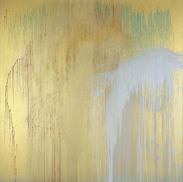 Pat Steir 	LITTLE LAMA GHOST   2006 	Oil on canvas 	84 x 84 inches 	213.4 x 213.4 centimeters