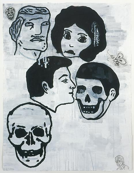 Donald Baechler 	CROWD (SKULLS) #1, 2006 	Gesso, flashe, graphite and paper collage on paper 	52 x 40 inches 	132.1 x 101.6 centimeters