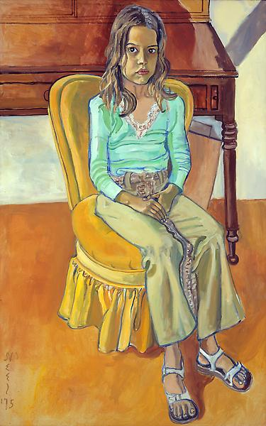 Alice Neel (1900 - 1984) 	OLIVIA 1975 	Oil on canvas 	54 x 34 inches 	137.2 x 86.4 centimeters