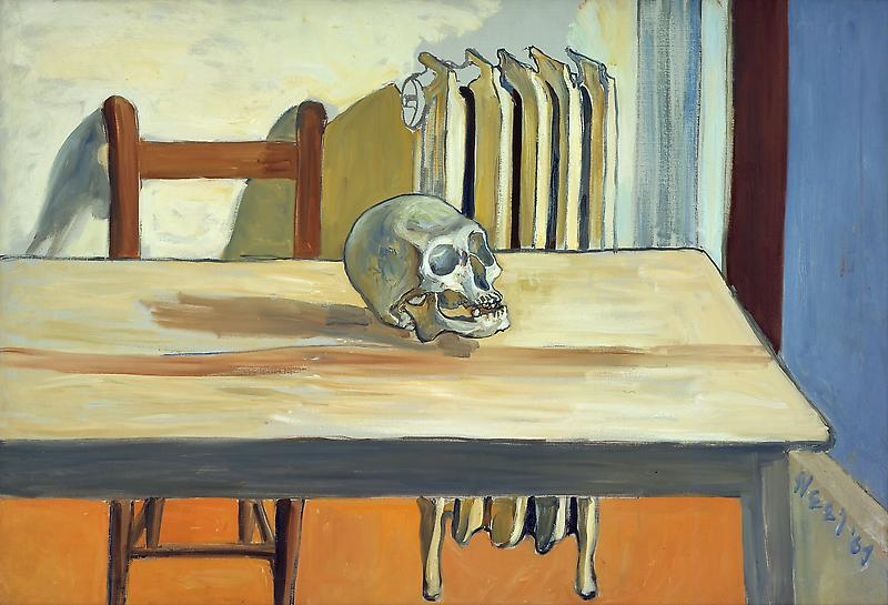 Alice Neel (1900 - 1984) 	NATURA MORTE, 1964-65 	Oil on canvas 	31 x 45 inches 	78.7 x 114.3 centimeters