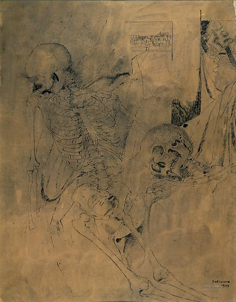 Paul Delvaux (1897 - 1994) 	SQUELETTES (SKELETON), 1949 	India ink on paper 	18.9 x 14.76 inches 	48 x 37.5 centimeters