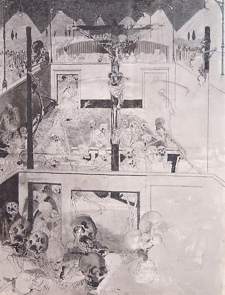 Paul Delvaux (1897 - 1994) 	ECCE HOMO, 1957 	Chinese ink and wash on paper 	33.86 x 26.38 inches 	86 x 67 centimeters