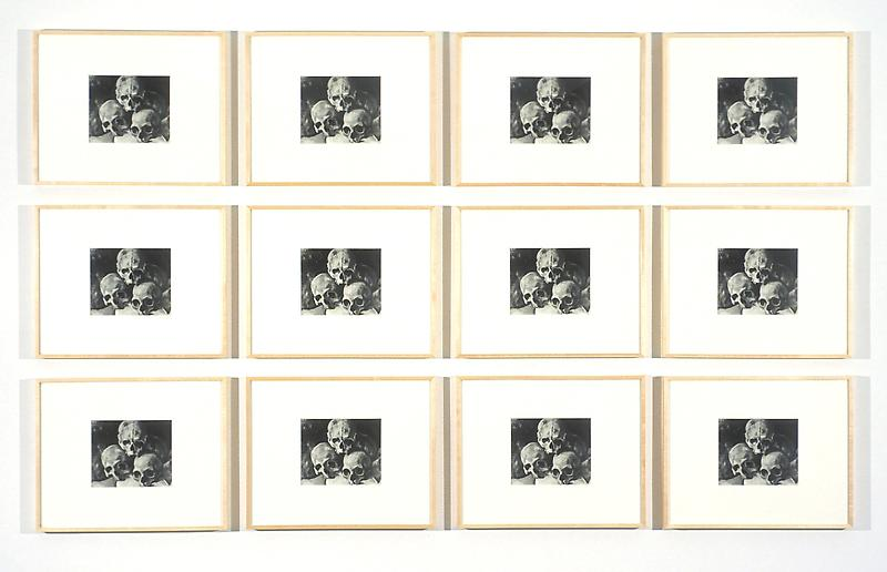 Sherrie Levine 	PYRAMID OF SKULLS: 1-12, 2002 	Set of 12 black and white photographs 	55 5/8 x 88 5/8 inches 	141.3 x 225.1 centimeters