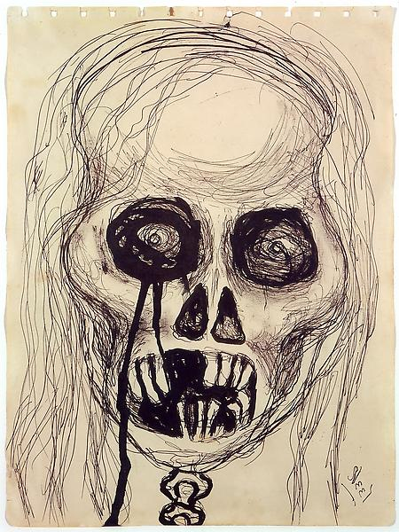 Alice Neel (1900 - 1984) 	SELF-PORTRAIT, SKULL, 1958 	Ink on paper 	11 1/2 x 8 1/2 inches 	29.2 x 21.6 centimeters