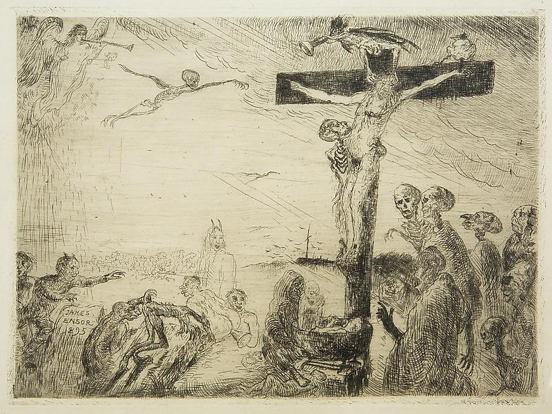 James Ensor 	(1860 - 1949) 	CHRIST TORMENTED BY DEMONS, 1895 	Etching 	6.77 x 9.25 inches 	17.2 x 23.5 centimeters
