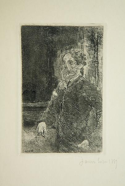 James Ensor (1860 - 1949) 	MY PORTRAIT AS A SKELETON, 1889 	Etching 	4.57 x 2.95 inches 	11.6 x 7.5 centimeters