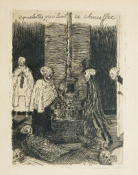 James Ensor 	(1860 - 1949) 	SKELETONS TRYING TO WARM THEMSELVES, 1895 	Etching 	5.24 x 3.82 inches 	13.3 x 9.7 centimeters