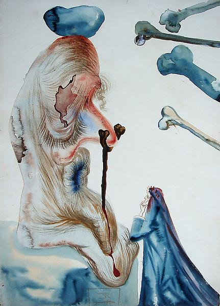 Salvador Dali (1904 - 1989) 	THE TOADY, 1950 	Watercolor 	8.66 x 13.78 inches 	22 x 35 centimeters