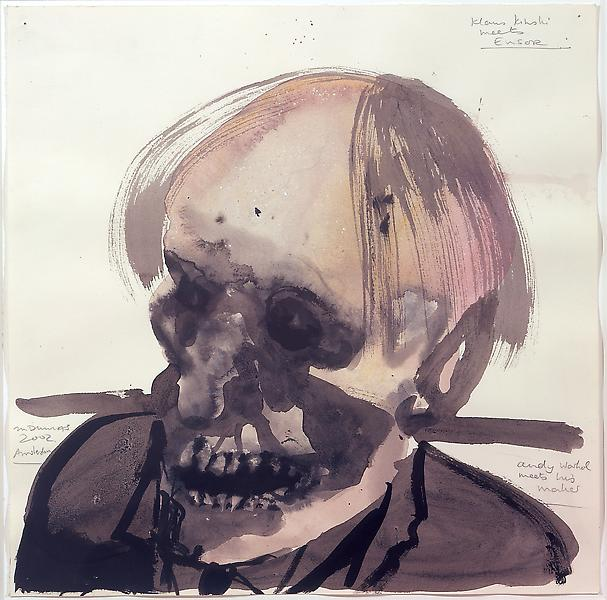 Marlene Dumas 	KLAUS KINSKI MEETS ENSOR, ANDY WARHOL MEETS HIS MAKER, 2002 	watercolor on paper 	18.11 x 18.11 inches 	46 x 46 centimeters