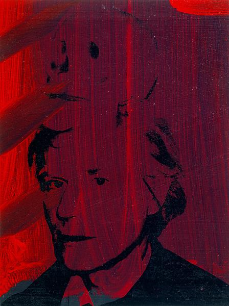 Andy Warhol (1928 - 1987) 	SELF-PORTRAIT WITH SKULL, 1978 	Acrylic paint and silkscreen ink on canvas 	16 x 13 inches 	40.6 x 33 centimeters