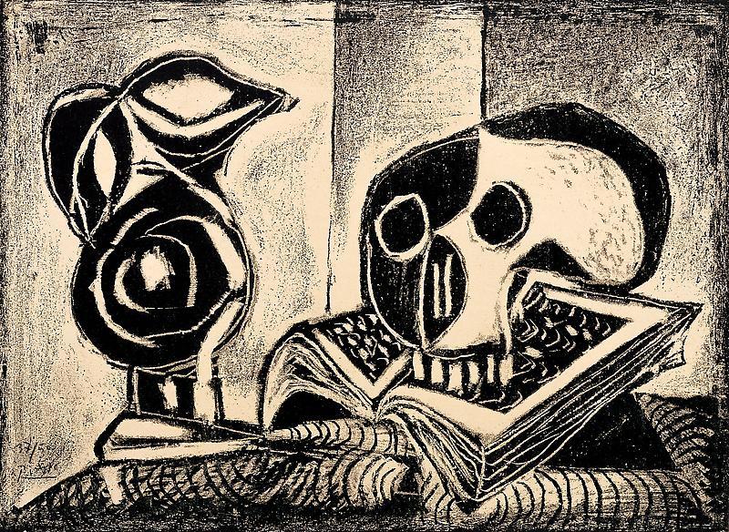 Pablo Picasso (1881 - 1973) LE PICHET NOIR ET LA TÊTE DE MORT, 1946 Lithograph 12.8 x 17.32 inches 32.5 x 44 centimeters