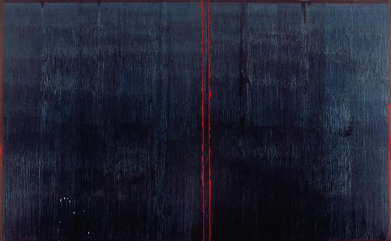 Pat Steir 	THE DARK, 2007 	Oil on canvas 	134 x 215 1/4 inches 	340.4 x 546.7 centimeters