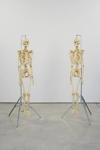 Damien Hirst 	MALE AND FEMALE PHARMACY SKELETONS, 1998/2004 	Plastic and rubber with metal fixtures attached to a metal stand 	65.5 inches - Male excluding metal stand 	166.4 centimeters 	63.75 inches - Female excluding metal stand 	161.9 centimeters
