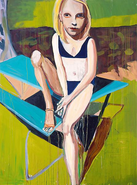 Chantal Joffe BLONDE GIRL SITTING ON A PICNIC TABLE, 2007 Oil on board 95.74 x 71.71 x 2.48 inches 243.2 x 182.1 x 6.3 centimeters
