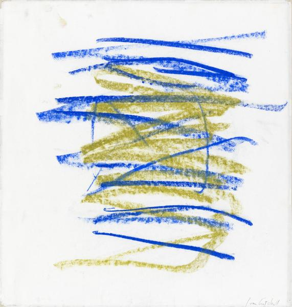 Joan Mitchell 	PASTEL  1991 	Pastel on paper 	18 1/2 x 17 3/4 inches 	47 x 45.1 centimeters
