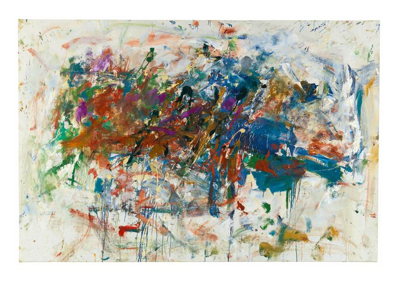 Joan Mitchell 	UNTITLED  1960 	Oil on canvas 	48 x 71 inches 	121.9 x 180.3 centimeters 	©Estate of Joan Mitchell