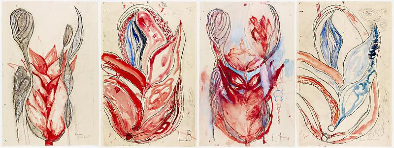 Louise Bourgeois 	À BAUDELAIRE 1 2008 	Etching, ink, watercolor, gouache and pencil on paper 	4 panels 	Approx. 60 x 40 inches each panel
