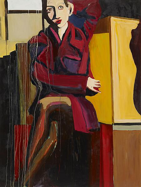 Chantal Joffe GREEN EYES MAGENTA COAT 2008 Oil on board 96 x 72 inches 243.8 x 182.9 centimeters