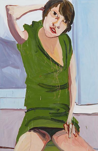 Chantal Joffe GREEN DRESS BLACK KNICKERS 2009 Oil on board 84 x 55 inches 213.4 x 139.7 centimeters