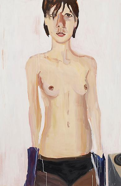 Chantal Joffe TOPLESS IN PURPLE GLOVES 2009 Oil on board 84 x 55 inches 213.4 x 139.7 centimeters