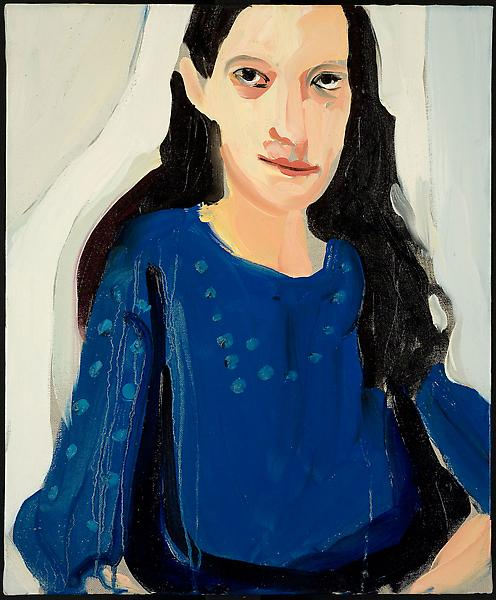 Chantal Joffe MARCELLA IN A BLUE DRESS 2009 Oil on linen 18 x 15 inches 45.7 x 38.2 centimeters