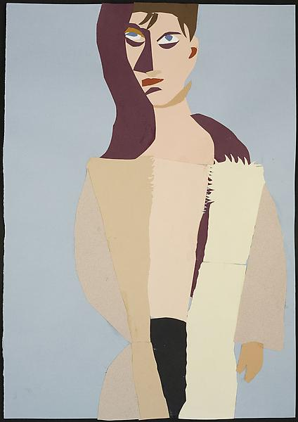 Chantal Joffe MAN IN SHEEPSKIN COAT 2009 Collage on paper 19 3/4 x 13 3/4 inches 50 x 35 centimeters