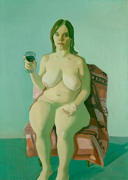 Maria Lassnig 	GIRL WITH WINE GLASS 1971 	Oil on canvas 	70 1/8 x 50 inches 	178.1 x 127 centimeters