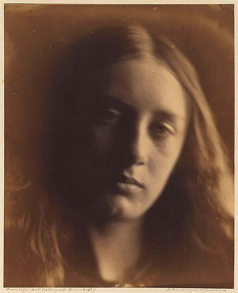 Julia Margaret Cameron 	MAY PRINSEP (HEAD OF ST. JOHN) 1866 	Albumen print 	13 x 10 1/2 inches 	33 x 27 centimeters