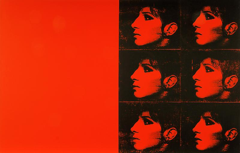 Deborah Kass 	DOUBLE RED BARBARA (THE JEWISH JACKIE SERIES) 1993 	Silkscreen ink and acrylic on canvas, diptych 	45 x 36 inches (each) 	114.3 x 91.4 centimeters (each)