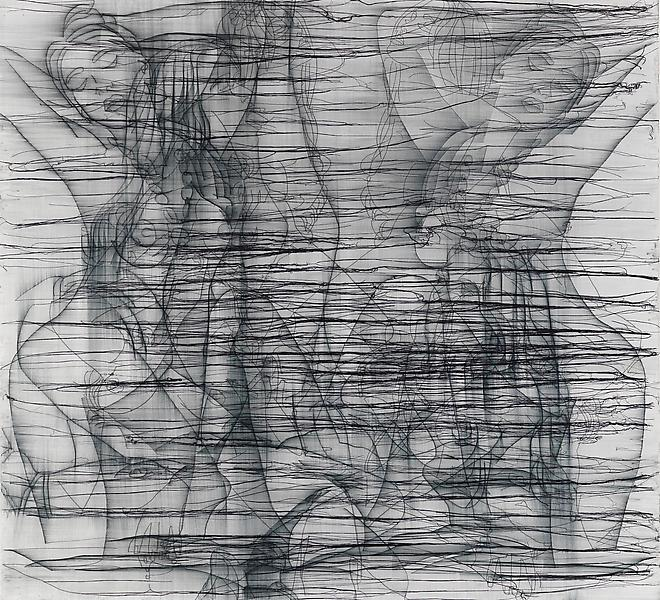 Ghada Amer 	THE WOMAN WHO FAILED TO BE SHEHRAZADE 2008 	Acrylic, embroidery and gel medium on canvas 	62 x 68 inches 	157.5 x 172.7 centimeters