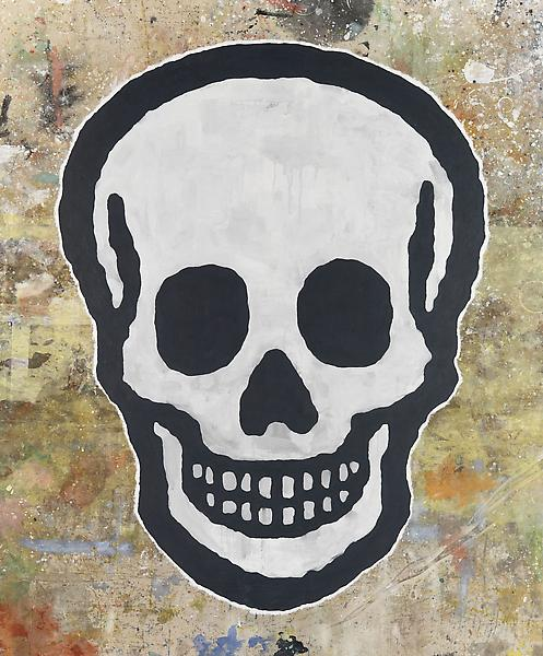 Donald Baechler SKULL 2009 Acrylic on canvas dropcloth 130 x 108 inches 330.2 x 274.3 centimeters