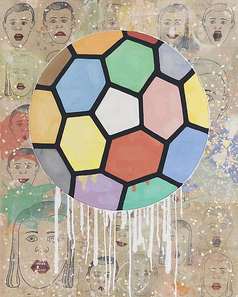 Donald Baechler 	COLORFUL BALL 2010 	Acrylic and fabric collage on canvas 	60 x 48 inches 	152.4 x 121.9 centimeters