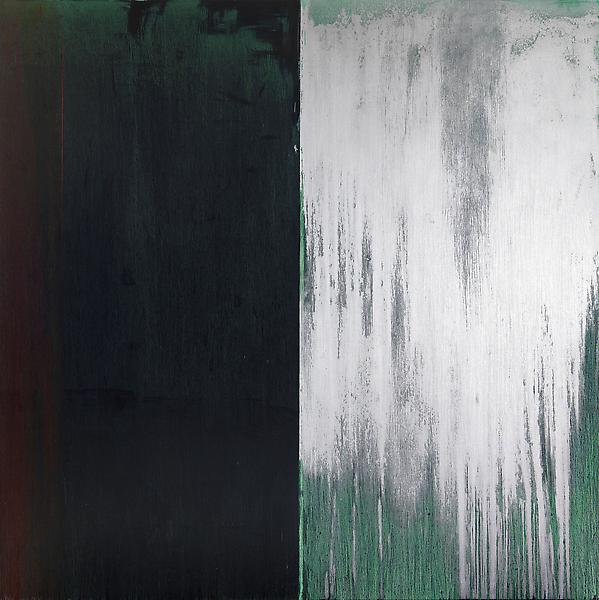 Pat Steir 	WINTER GROUP 5: DARK GREEN, RED AND SILVER 2009-11 	Oil on canvas 	131 5/8 x 132 inches 	334.3 x 335.3 centimeters