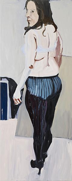 Chantal Joffe 	SELF-PORTRAIT IN STUDIO 2011 	Oil on board 	120 x 48 1/8 x 2 3/8 inches 	304.8 x 122.2 x 6 centimeters