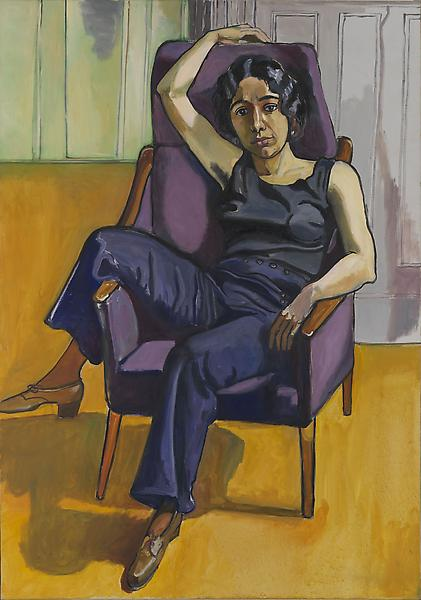 Alice Neel (1900 - 1984) 	MARXIST GIRL (IRENE PESLIKIS) 1972 	Oil on canvas 	59 9/4 x 42 inches 	155.6 x 106.7 centimeters