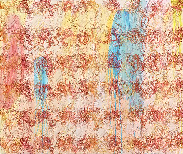 Ghada Amer 	UNFRIENDING CAMELIA 2011 	Acrylic and embroidery on canvas 	58 x 69 inches 	147.3 x 175.3 centimeters