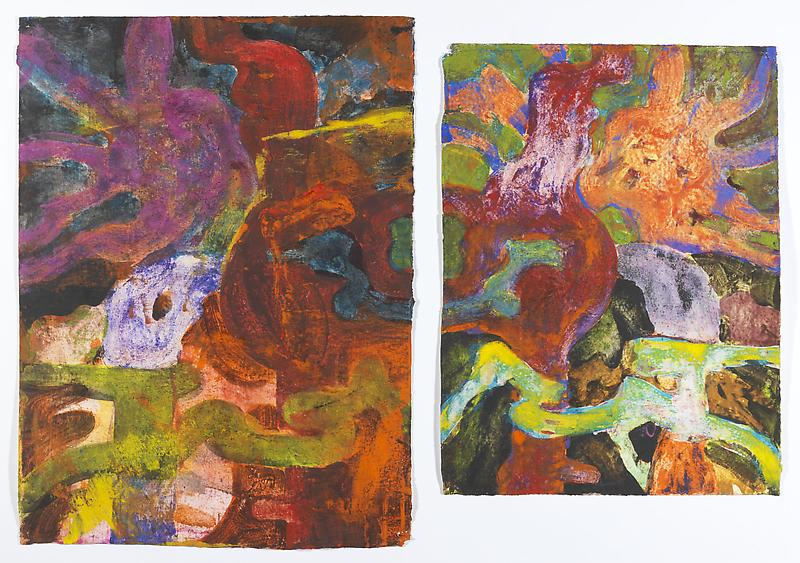 Bill Jensen STUDY FOR BOOK OF SONGS VIII 2011 Egg and oil tempera on paper, diptych 16 5/8 x 23 3/4 inches 42.2 x 60.3 centimeters