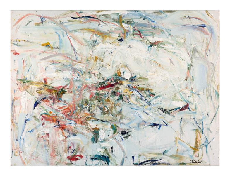 Joan Mitchell 	LIENS COLORÉS  Circa 1956 	Oil on canvas 	55 1/2 x 74 inches 	141 x 188 centimeters 	©Estate of Joan Mitchell