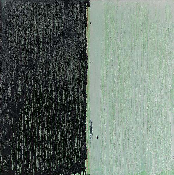 Pat Steir 	BLACK & WHITE OVER GREEN  2012 	Oil on canvas 	36 x 36 inches 	91.4 x 91.4 centimeters