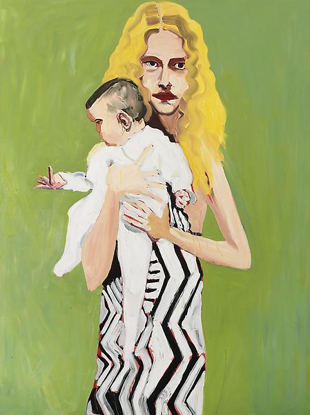 Chantal Joffe BLONDE WITH A BABY 2012 Oil on board 96 1/4 x 72 1/4 inches 244.5 x 183.5 centimeters