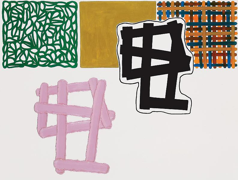 Jonathan Lasker 	WESSEN WESEN  1996 	Oil on linen 	65 x 84 inches 	165.1 x 213.4 centimeters