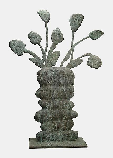 Donald Baechler 	CLAY POT FLOWERS  2011 	Bronze 	95 x 71 x 5 1/2 inches 	241.3 x 180.3 x 14 centimeters